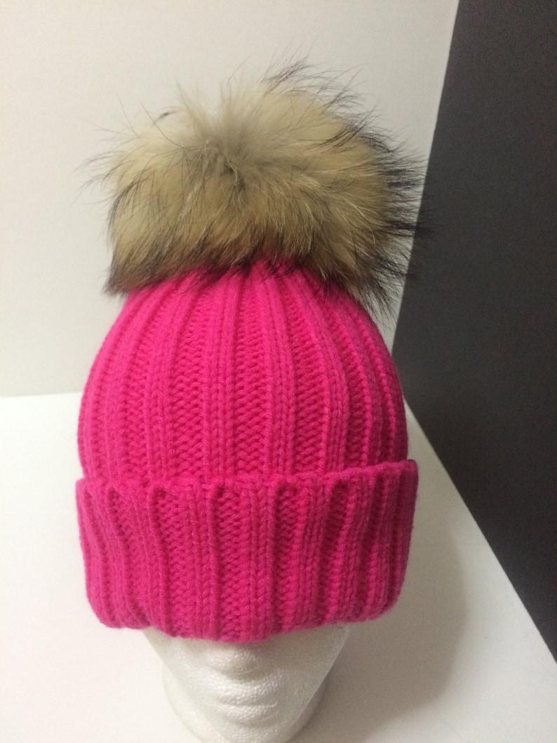 Hot Pink Beanie hat Fur Pom pom Pink Beanie with Removable  a399f302973