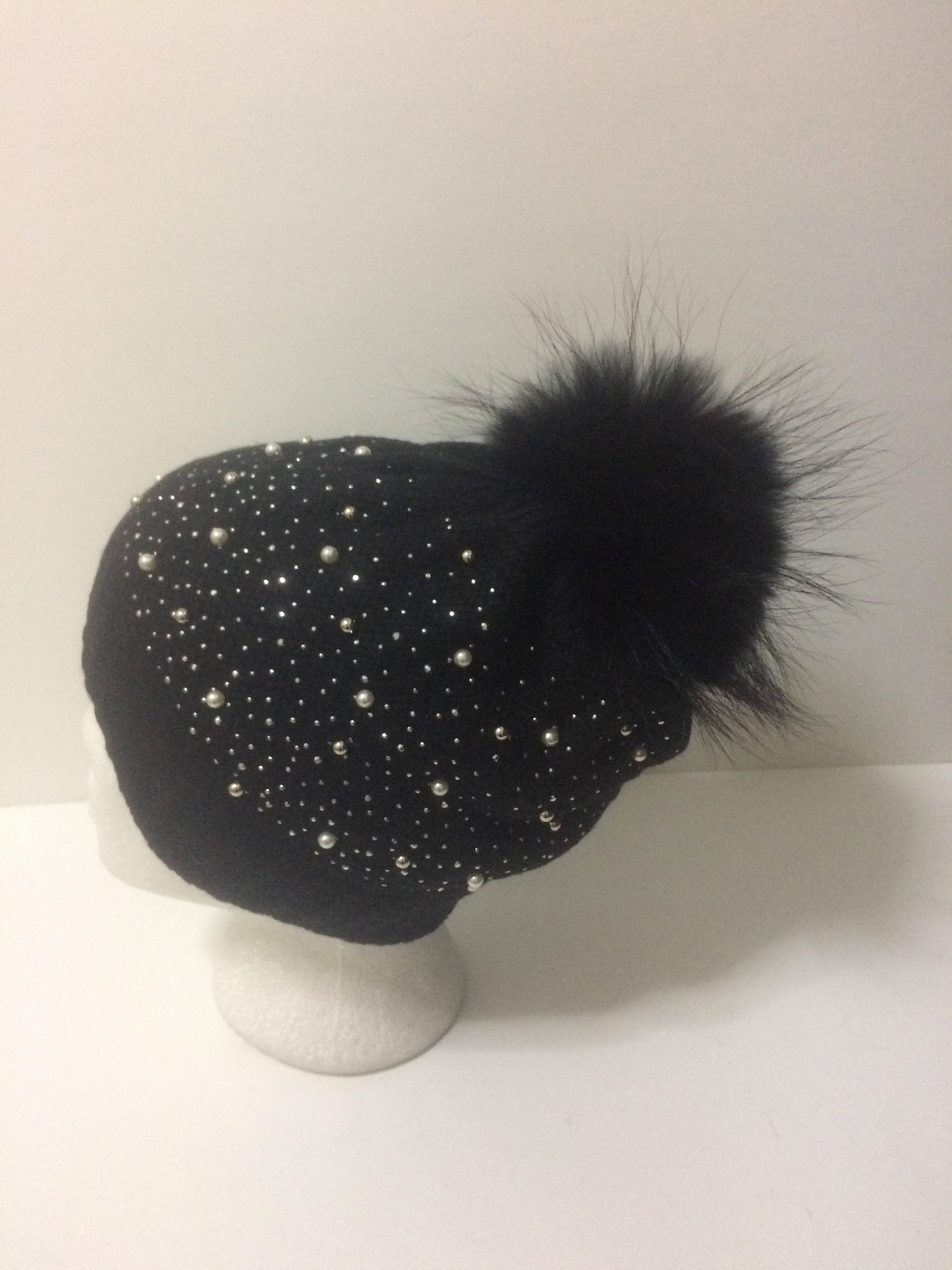 Black Sparkle Hat Black and Silver Sparkling Beanie Party  9410a4f46bc