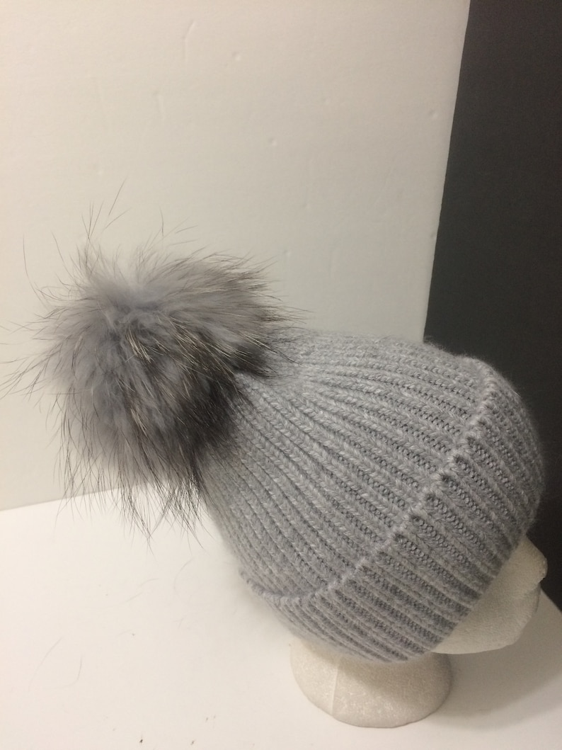 0629a35c48acb6 Fur Pom pom Hat 100% Angora Beanie Gray with Removable Large | Etsy