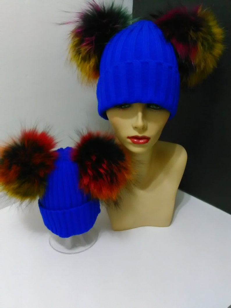 Mommy and Me Beanie Mom and Baby Two Fur Pom pom Beanies Blue Beanie Hat with Removable  Real Genuine Raccoon fur Pom pom.