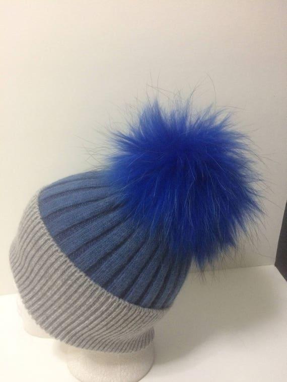 6e18a4bb3ff Angora Pom pom Beanie 100% Angora Blue and Gray Hat with