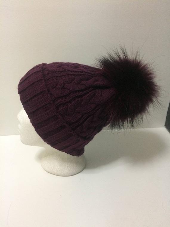 eaf983feff2 Fur Pom pom Hat Burgundy Plum Wine Beanie with removable
