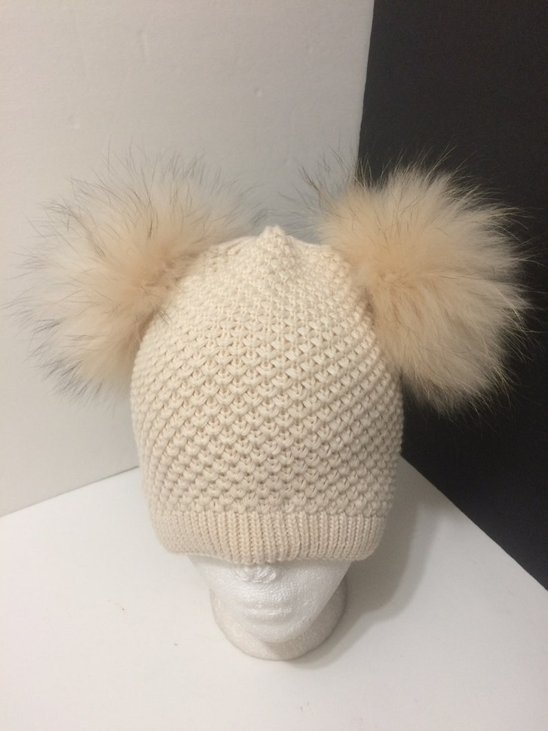 86388c7da29 Double Pom pom Beanie Cream Light Beige Beanie Hat with