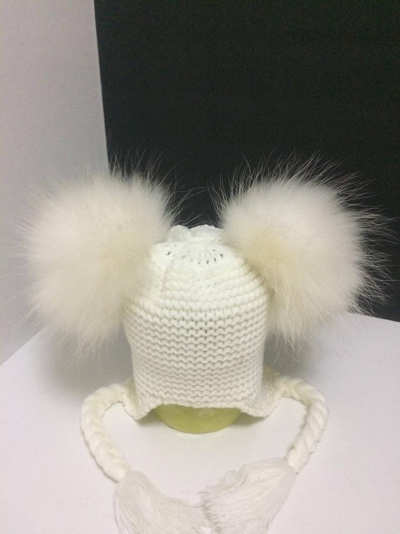 Baby Double Fur Pom pom Beanie Two Pom pom Baby Hat White Beanie Hat with Removable  Real Genuine Raccoon fur Pom pom.