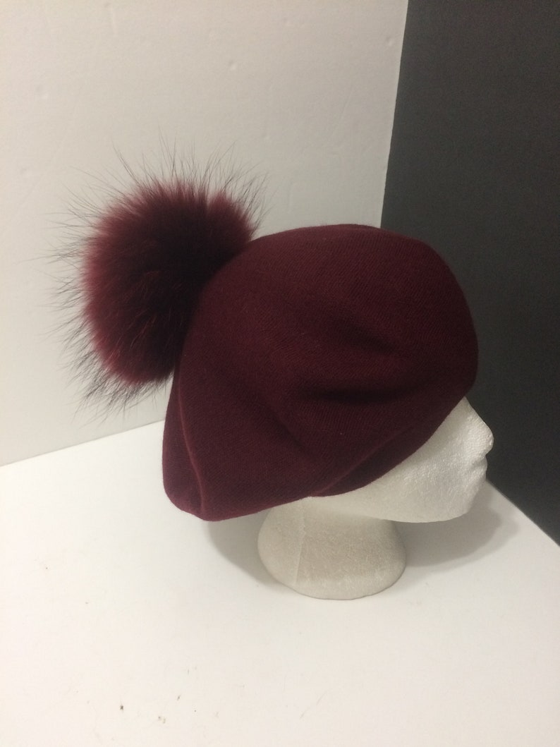 Beret Wine Red with Optional  Removable Large Real Genuine Raccoon fur Pom pom. French Beret 100/% Angora Wool