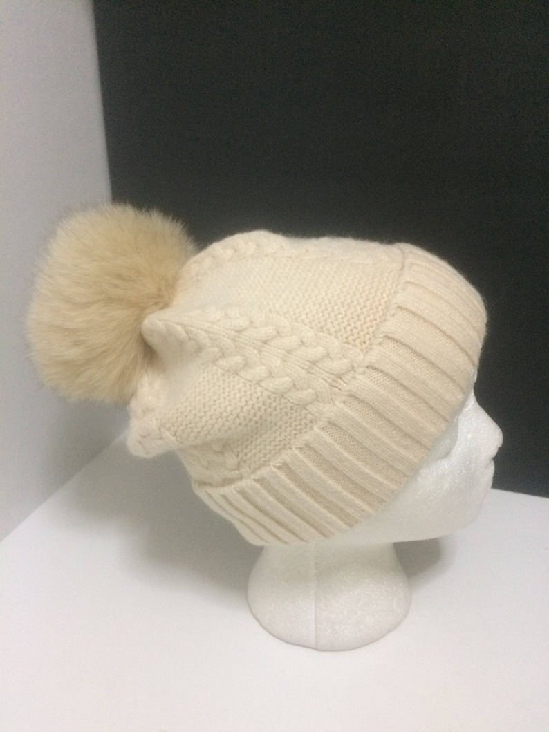 62e49de2c66 Pom pom Beanie Cashmere Wool Cream Beanie Hat with Removable