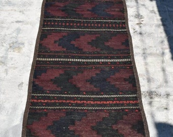 2'3 x 9'1 Ft, Stunning handmade vintage afghan maldari wool kilim runner rug, Tribal runner rug, Hallway rug, Kitchen rug, Black rug, Runner