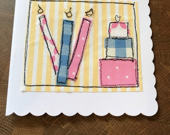Sewn birthday card 3 candles