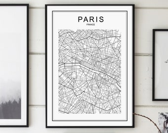 Paris map print Etsy