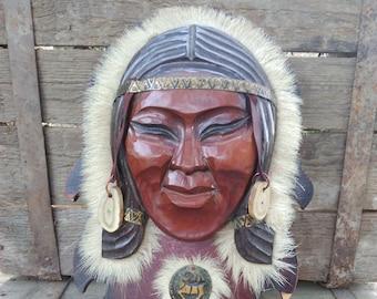 Soviet Vintage wooden mask,Taimyr souvenir Sune,mask of a reindeer herder,Vintage Folk Art Mask,Hand Carved wooden mask,Soviet Folk Art Mask