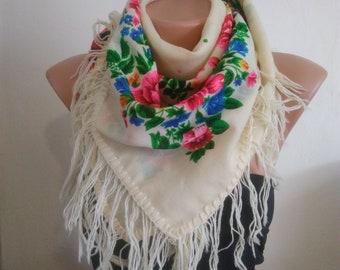 Unused Vintage Ukrainian Wool floral shawl,Ukrainian scarf, Russian shawl, Wool floral scarf,white shawl, Floral scarf, made in USSR