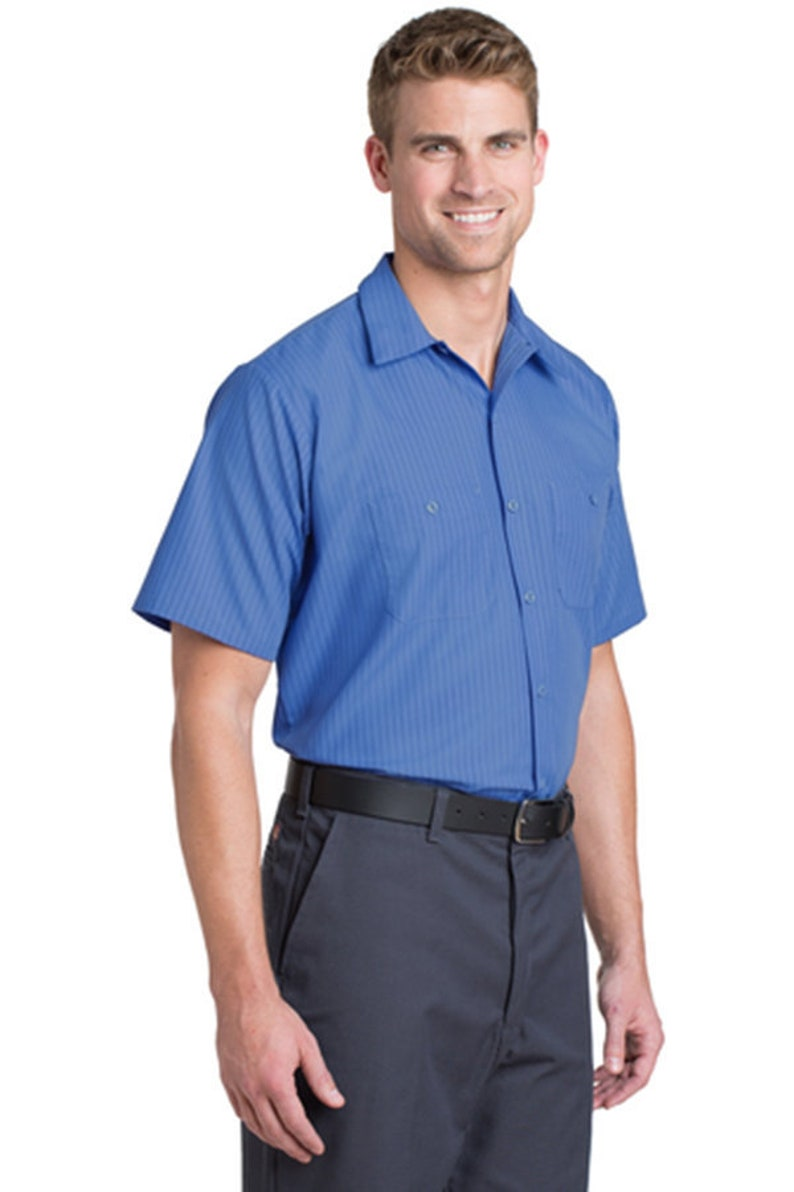 1d525b1dbe Custom Red Kap Short Sleeve Striped Industrial Work Shirt
