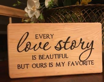 Wedding Anniversary block LOVE STORY with lace Light Wood Block