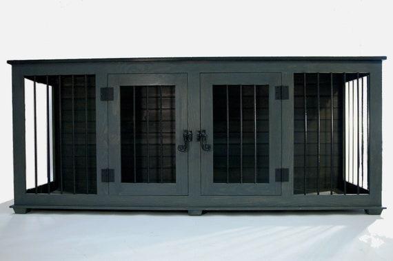 La Credenza Coop : Local pick up double custom medium dog crate kennel rustic etsy