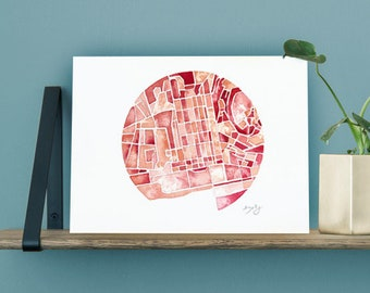 Map of Lisbon, original watercolor of the Portugal, district of Lisbon city map, architecture, painting to provide 21x30cm