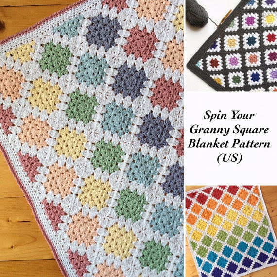 Crochet Pattern Us Terms Spin Your Granny Square Blanket Etsy