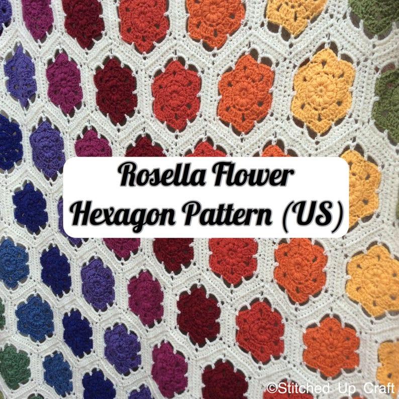 Crochet Pattern Us Rosella Flower Hexagon Pattern Crochet Etsy