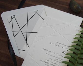 Minimal Invitation,Geometry,embosses invite,Modern Letterpress,Black and White,Axes in Geometry,Minimalist,Axes in Geometry 31