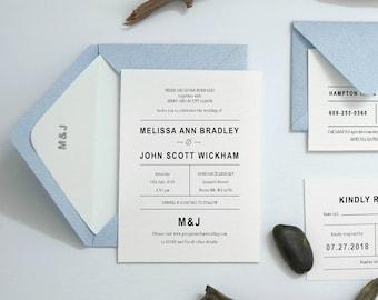 Pastel Blue Modern Typography Invitation Typography Minimal Invite, Simple Modern Wedding, Rustic Invitation, Airy Blue Chic Invite 39