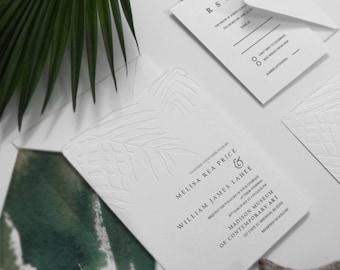 Blind Embossing Palm Leave Wedding Invite, Elegant White Destination Wedding, Tropical Beach Wedding, Minimalism Invite, SAMPLE 32