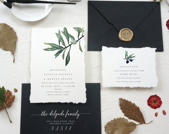 Rustic Deckle Edge Italy Wedding Invite, Torn Paper Edges, Olive Branch Wedding, Italy Tuscany Wedding Digital, Download, Instant File #53