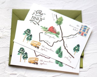 Simple Custom Watercolor Illustration Map, Simple Wedding Map Custom Design, Welcome Bag Itinerary, Corporate Business Maps, Digital File
