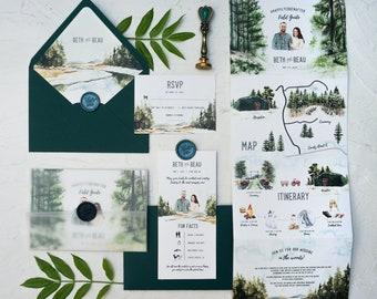 Venue Illustration Tri-fold Wedding Invitation Set, Hand-drawn Tri-fold Wedding Invite with Weekend itinerary, Forest Camp Invite SAMPLE 75