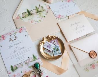 Venue Watercolor Illustration Wedding Invitation, Blush Floral Vellum Invitation, Hand drawn venue invite with wax seal SAMPLE 73