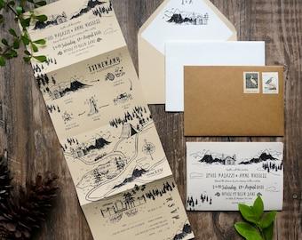 Custom Wedding Map Folded Wedding Invitation, Whimsical Hand-drawn map Trifold Invitation, Rustic Wedding Itinerary Illustration SAMPLE 76