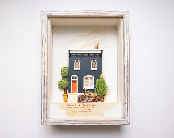 Custom Clay House Miniature, Framed Clay House Replica, House Warming Gift, Home Moving Gift, First Home Gift, Realtor Closing Gift