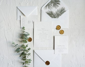 Modern Tropical Destination Wedding Invitation, Embossed Palm Wedding Invites, Florida Wedding Invite, Modern Palm Print Invites SAMPLE 74