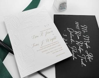 Blind Debossed Tropical Palm Wedding Invites, Gold Foil Invitation, Destination Wedding, Tropical Beach Wedding Palm Leaves SAMPLE 46