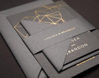 Gold Foil Modern Geometric Wedding Invitation, Modern Industrial Wedding, Minimal Invitation with RSVP, SAMPLE 28