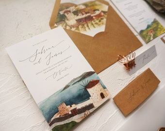 Personalized Venue Illustration Destination Wedding Invitation, Custom Watercolor Love Story Wedding Map, Vellum Envelope and Wrap SAMPLE 70