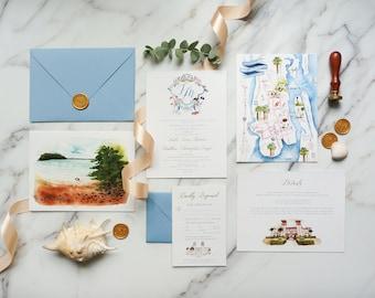 Custom Watercolor Illustration Wedding Invitation, Hand-drawn Venue Map Wedding Logo Dusty Blue Destination Wedding Invite SAMPLE 77