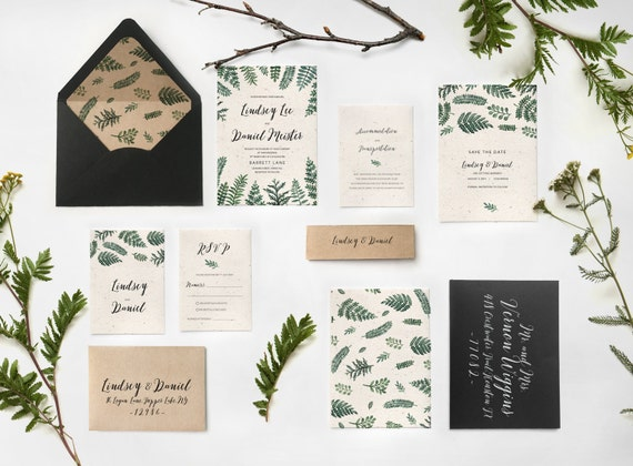 Botanical Greenery Invitation Forest Fern Leaves Watercolor Wedding Invitation Greenery Forest Wedding Digital Instant File #04 Download