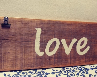 Reclaimed Wood 'Love' Sign with Photo Clips