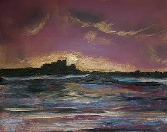 Original oil  fine art painting Holy Island Lindisfarne Sunrise 2017