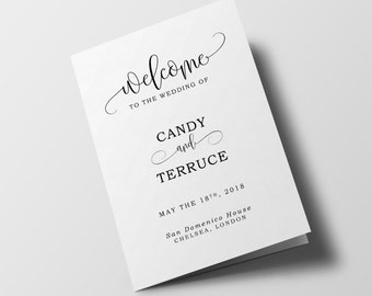 wedding program template folded wedding program printable order of ceremony template half fold program templatediy the pearl suite
