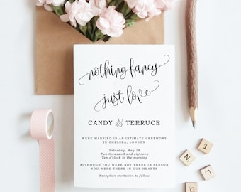 nothing fancy just love wedding announcement template etsy