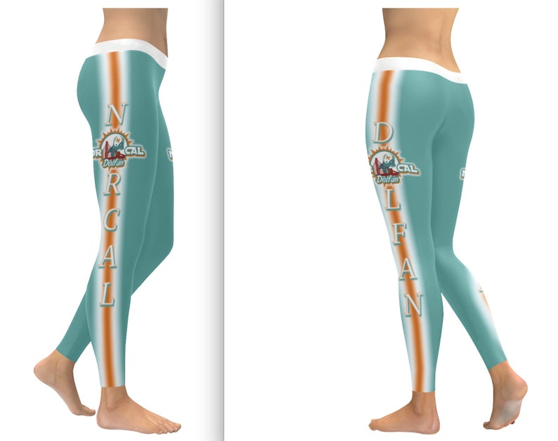 f49ffd04 Miami Dolphins Fan Leggings, Miami Dolfans Leggings, Norcal Dolfans Leggings