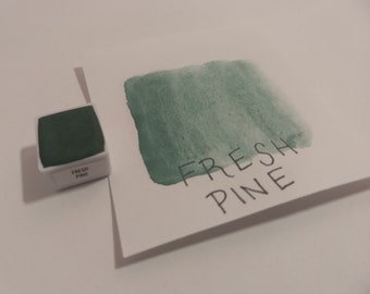 Handmade Fresh Pine Watercolor Paint Half Pan with Magnet  *delayed international shipping times