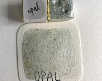 Handmade Shimmering Opal Watercolor Paint Half Pan with Magnet  *delayed international shipping times