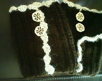Crocheted button-up baby alpaca boot cuffs, dark chocolate with beige trim