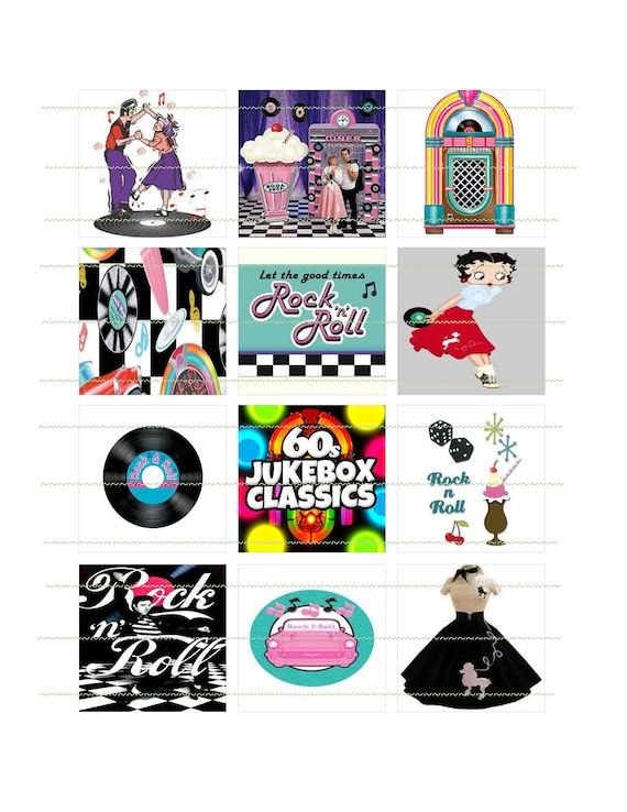 293e9f92c DESCARGAR INSTANT Rock N Roll fiesta 50s 60s Caniche falda Betty Boop Rock  N Roll Cupcake Topper registro Jukebox Digital partido 50s descargables