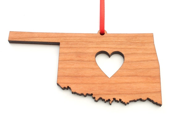 Oklahoma-State Outline-Heart-Christmas Tree Ornament-Red