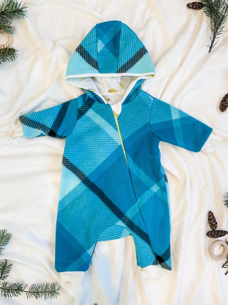 Fleece Cozy Winter JacketCoat Newborn 0-3 Months Unisex Child boygirl Baby Romper Jumpsuit Coverall Banana Plaid Blue