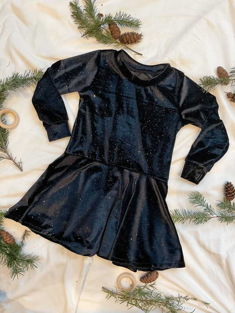 3T 2-3 year old rainbow sparkles holiday dress Twirly Sparkly Black Velvet Toddler Girl Dress little girl fit and flare dress