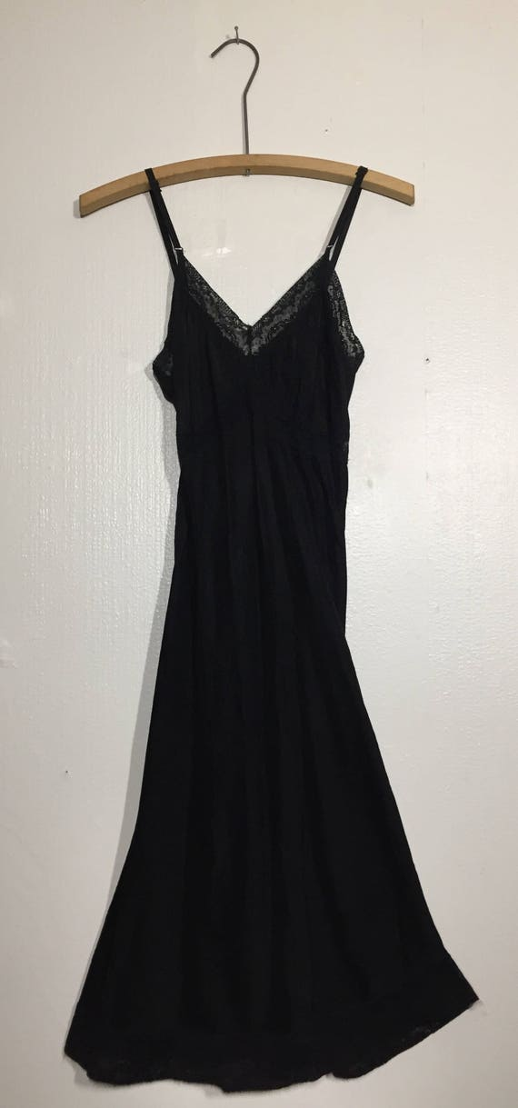 1940s Bias Cut Lace Trimmed Black Slip