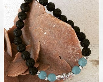 Lava stones and turquoise stones bracelet
